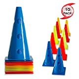 URAKN SPORTS 12' Inch Plastic Multicolored Cones with Holes 10 Pack Set - Perfect for Soccer, Football, Basketball Coaching, Agility Drill Training Field Marker. Traffic Cones (12 inch with Holes)