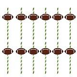 Amosfun 12 Pcs Fête d'anniversaire Fournitures Rugby Football Papier Jetable Potable Paille Jeux Fête Super Bol Décoration De Fête