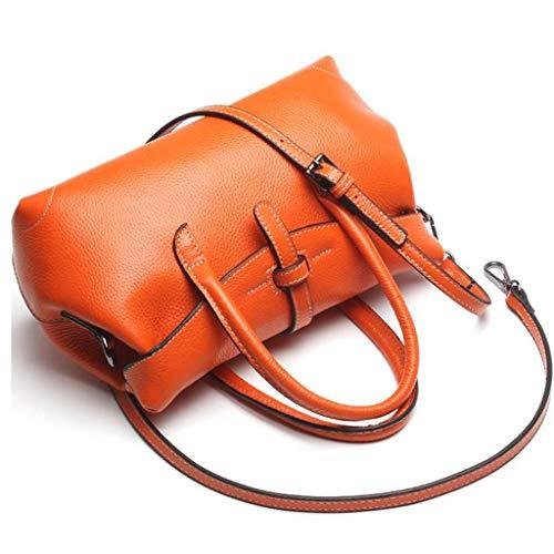 Fourre-Tout en Cuir pour Femme Sac à bandoulière Femme Messenger Satchel Sacs à Main avec bandoulière (Couleur : Orange)