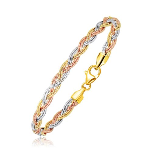 Couture Jewelers- 14k Gold Braided Design Bracelet, Tri-Tone Strand Mirror Spring Luxurious Wrist Band With Lobster Clasp, Exclusive Design, Women Jewelry (7.25in)