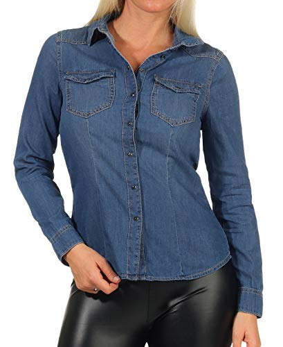 ONLY Damen Jeans-Hemd ONLRockit Life Shirt mit Knopfleiste 15195898 medium Blue Denim 38