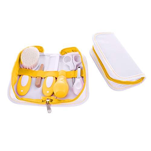 VSTAR66 Juego de 7 piezas para el cuidado diario del recién nacido con lima de uñas, cortaúñas, tijeras de seguridad, limpiador de nariz, cepillo de cachemira, peine de pelo y bolsa de almacenamiento.