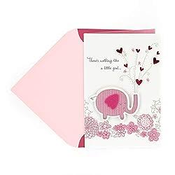 Hallmark Signature New Baby Congratulations Greeting Card, Pink Elephant