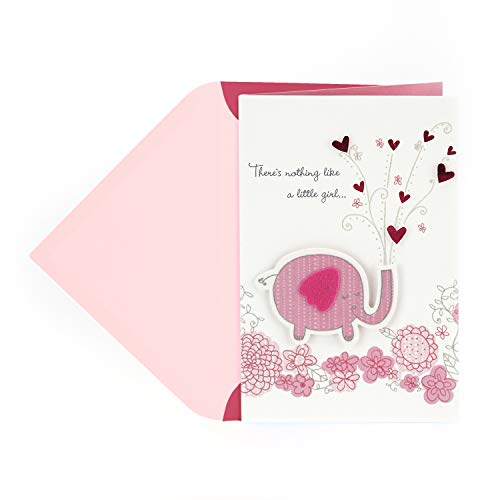 Hallmark Signature New Baby Congratulations Greeting Card, Pink Elephant