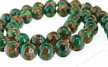 FidgetFidget Green Goldstone Jade Gemstone Beads Strand 8MM Full ONE Strand Loose Strand CHA