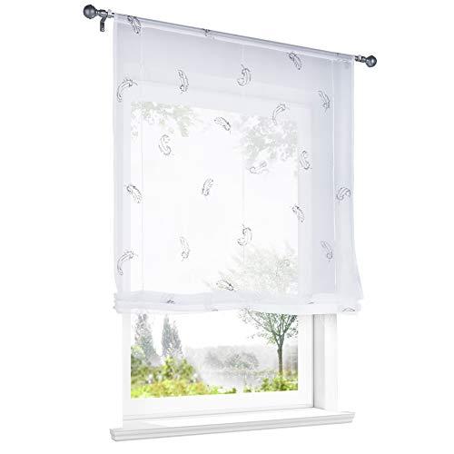 Store Romain Transparent Broderie avec Plumes Passe Tringle Décoration de Fenêtre (LxH 80x140cm, Gris Clair)