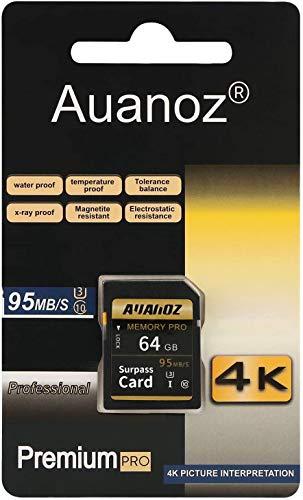 Auanoz TF-Speicherkarte 64GB, Klasse 10 Datenlesen übertreffen Geeignet für Kameras und CamcorderU3, Bis zu 95 MB/s, Klasse 10.(Schwarz/Gold-64gb)
