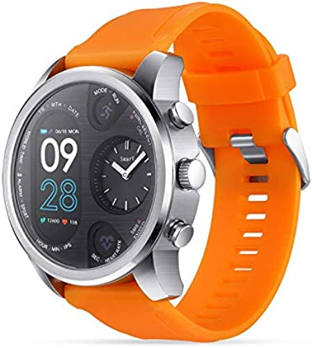 Sxfcool Smart Watch Sports Dual Time Zone Couleur Screen Heart Rate Sleep Detection Waterproof Compatible with Android 8.0 Apple 9.0 and Above (Orange)