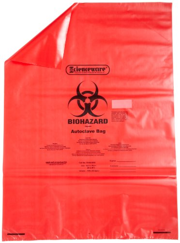 Bel-Art F13164-2535 Polypropyleen 15-20 Gallon rode biohazard wegwerpzakken met waarschuwingslabel/sterilisatie-indicator, 25 W x 35 in. H, 1,5 mil dik (Pack van 200)