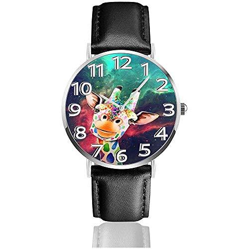 Nebula Giraffe Gemälde Uhren Pu Leder Armbanduhr Quarzuhr