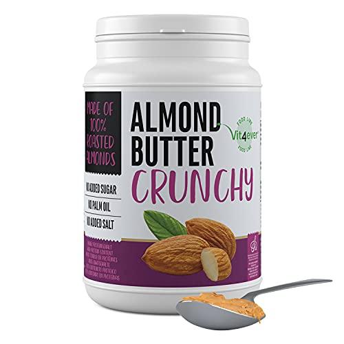 Mantequilla de almendras crujiente - 1kg Mantequilla de almendras natural sin aditivos - Fuente de proteínas - Mantequilla de almendras sin azúcares añadidos, sal, aceite o grasa de palma - Vegano