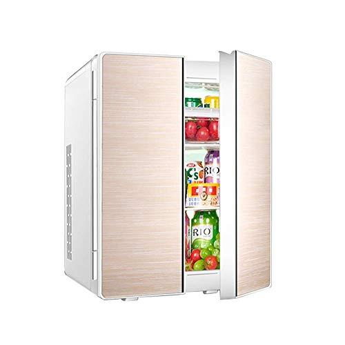 MQJ 25L Refrigeración de Doble Núcleo Mini Coche Refrigerador Double Door Design Home Dormitory Cooler And Warmer Car Dual Uso Mini Nevera,Oro
