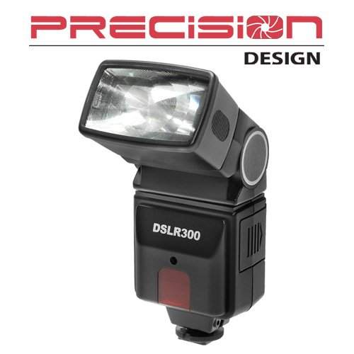 Precision Design DSLR300 Universal High Power Auto Flash with Zoom/Bounce/Swivel Head for Digital SLR Cameras
