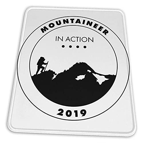 N\A Mountaineer in Action Presenta para Grandes Pasatiempos Alfombrilla de ratón Base de Goma Antideslizante para computadora de Juegos de Oficina con Borde Cosido
