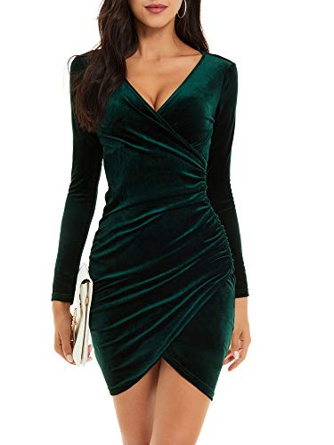 GUBERRY Velvet Night Out New Years Eve Dress Holiday Dresses for Women Winter Wedding Guest(Small,Green)