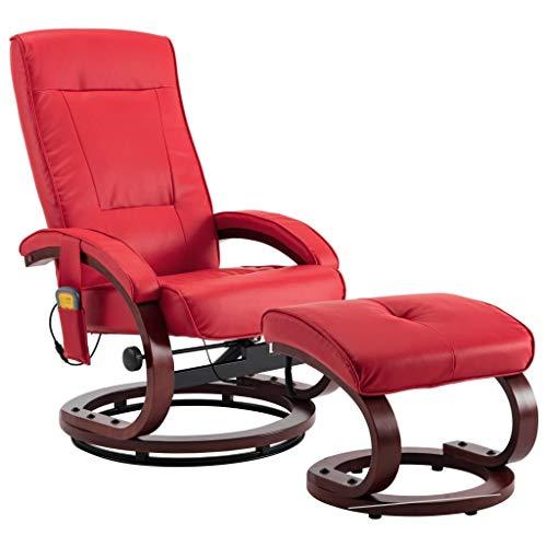vidaXL Sillón Relax Masaje Calor Lumbar Reclinable Piel Sintética Reposapiés Aparte Butaca Abatible Relajación Vibración Eléctrica Imitar Cuero Rojo