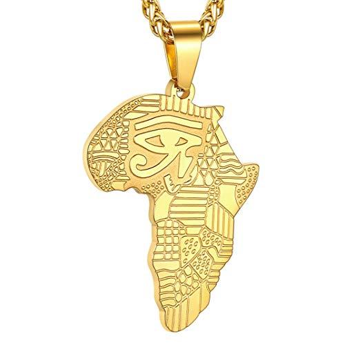 Goldchic Jewelry Afrika Kaart Hanger Ketting, 316l Roestvrij Staal Afrikaans Oog Van Horus Sieraden