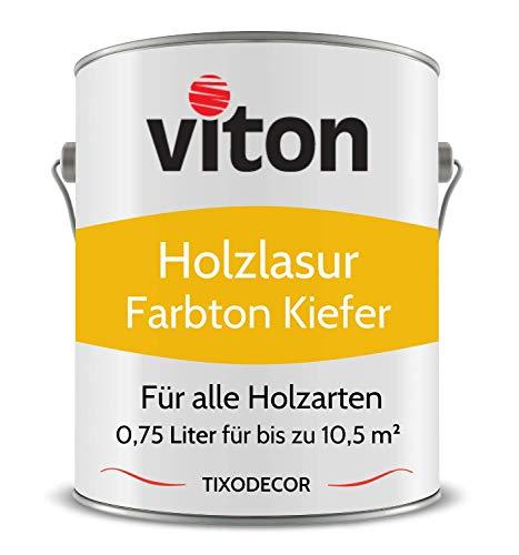 0,75 Liter Holzlasur von Viton - Farbe Kiefer - 3in1 Seidenmatt - Holzschutzlasur, Lasur für Holz - Extra starker Schutz für Innen und Außen - Wetterfest, Atmungsaktiv & UV-beständig - Tixodecor