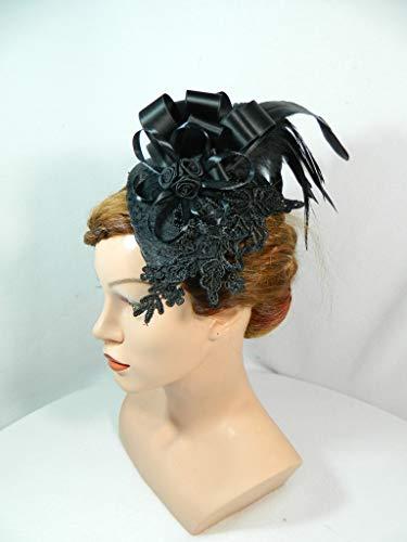 Teardrop Fascinator Tropfen Hut Huetchen Headpiece Haarschmuck Gothic Burlesque 20s 50s