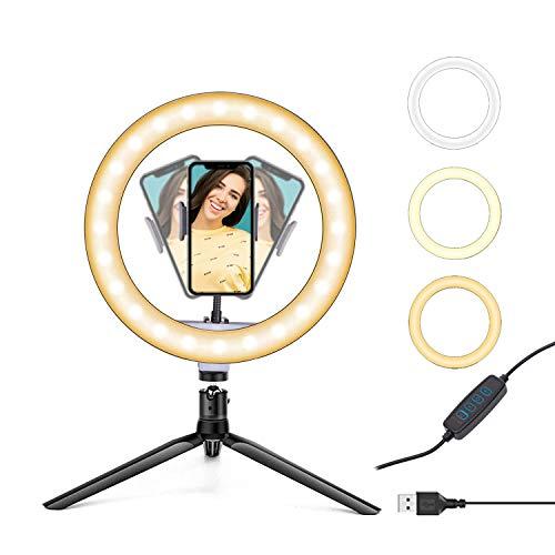 EVYLIOX - Anillo de luz para selfie, 26 cm, 3 colores y 11 niveles de brillo con trípode de mesa para Tik Tok Foto Streaming YouTube Video Make Up