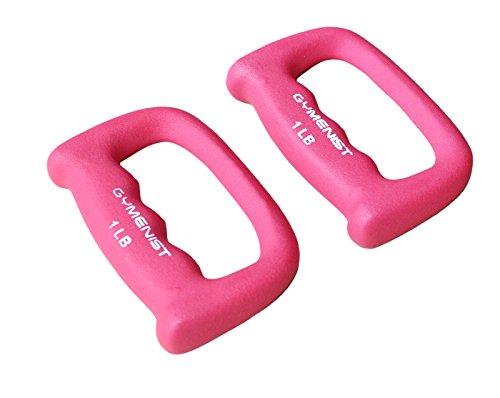 GYMENIST Set of 2 Hand Shaped Neoprene Exercise Workout Jogging Walking Cardio Dumbbells Pair (1-LB Pink)