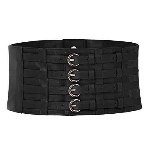 Wide Elastic Waist Belts Corset Cincher Belt Trimmer Waistband for Women Black M