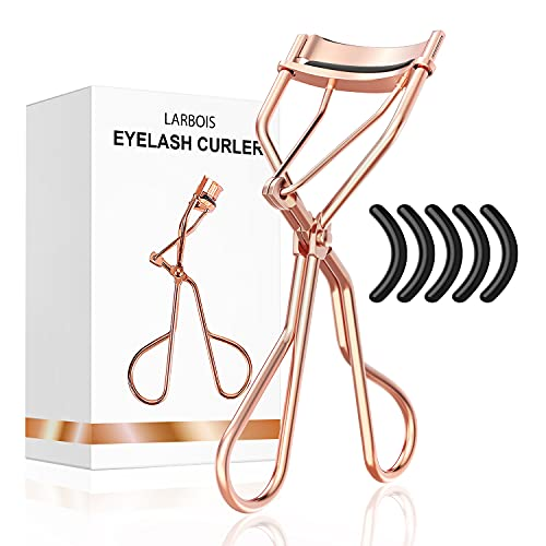 Eyelash Curlers with Refill Pads for Women - Larbois Eyelash Curler with 5 Refill Pads Easy to Curl Eyelashes Naturally in Seconds without Pinching...