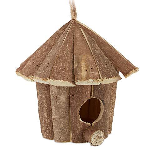 Relaxdays Mini Vogelhaus, Deko zum Aufhängen, unbehandeltes Holz, rustikal, Balkon, Garten, Häuschen 16x16x16 cm, natur