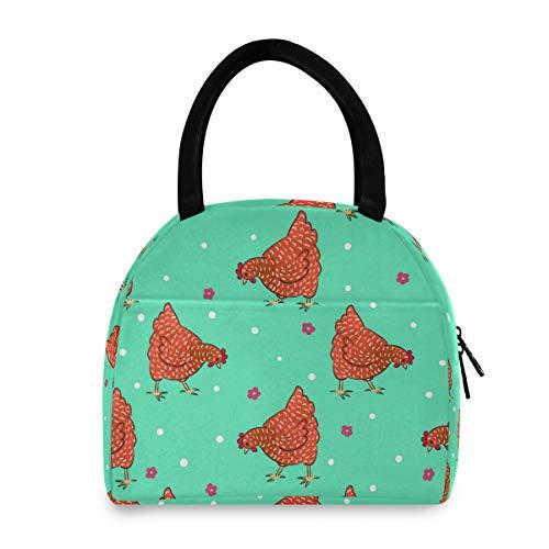 ADMustwin - Bolsa de almuerzo aislada, diseño de gallo con flores y lunares para la escuela, picnic, viaje, trabajo para adolescentes