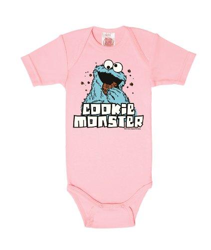 Logoshirt Body para bebé Monstruo de Las Galletas - Barrio Sésamo - Sesame Street - Cookie Monster - Pelele para bebé - Rosa - Diseño Original con Licencia, Talla 74/80, 7-12 Meses