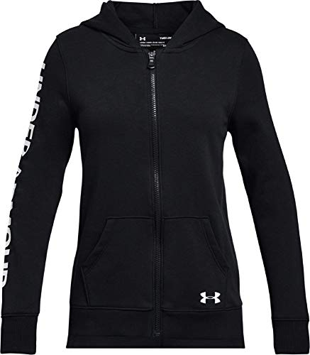 Under Armour Rival Full Zip Warm-up Top - Black/Silver, Youth Medium