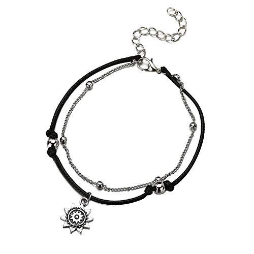 XQxiqi689sy Bracelet Bangle Double Layer Round Ball Chain Sun - Colgante para mujer con sandalia negro