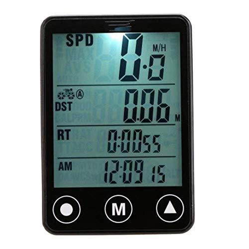 ZMHVOL Ordenador de Bicicletas Multifuncional Botón inalámbrico LCD Bicicleta Computadora Odómetro Speedómetro Impermeable Velocidad Velocímetro (Color: Negro, Tamaño: Un tamaño) WANGHN