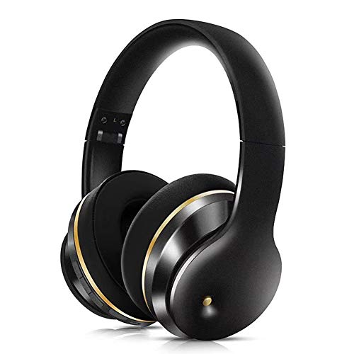 Wireless Studio DJ Headphones, Bluetooth Headphones Over Ear Foldable Built-in Mic & Wired Mode with Microphone and Volume Control for PC/Cell Phones/TV/Ipad Professional Gaming Headset,Black