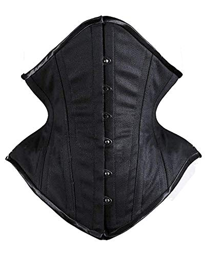 SHAPERX Women Waist Training Corsets Double Steel Boned Heavy Duty Long Torso Body Shaper, SZ1793-Black-XS
