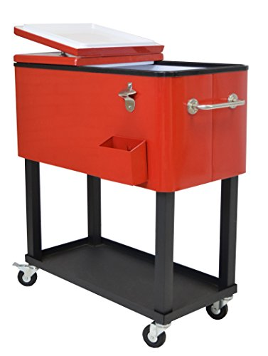 Oakland Living Steel Patio Cooler with Cart, 80-Quart