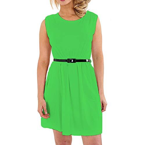 Papaval - Vestido de verano para niñas de 3 a 14 años Verde verde 3-4 Años