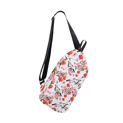 EZIOLY Rote chinesische Laterne Frühling Pink Blumen Krane Aquarell Schultertasche Schultertasche Brusttasche Crossbody Tasche Reise Wandern Daypack für Herren Damen