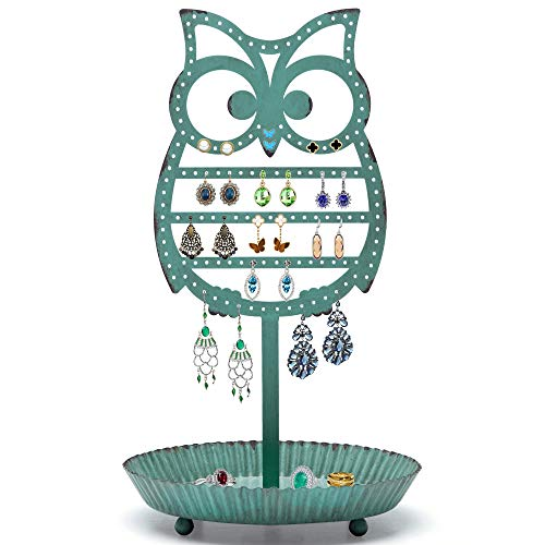 NIKKY HOME Earring Holder Hanging Organizer Stand Metal Jewelry Tree Table Top Owl Ear Stud Holder Tower Rack with Ring Tray for Girls Kids (134 Holes), Teal