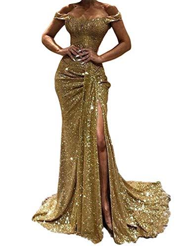 generisch JIER Damen Glänzend Schulterfreies Maxikleider Pailletten Langarm Einfarbig Slim Split Kleid Vintage Bodycon Funkelnd Kleid Maxikleid Abendkleid Partykleid (Gold 2,Medium)