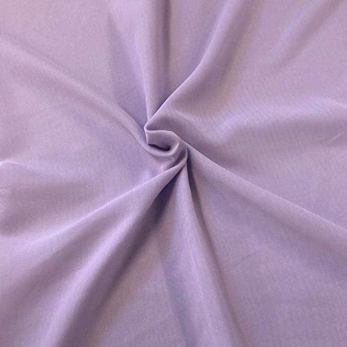 DJBM 59'' Solid Color Sheer Chiffon Fabric Yards Continuous All Colors for DIY Decoration Valance Lavender/1 Yard