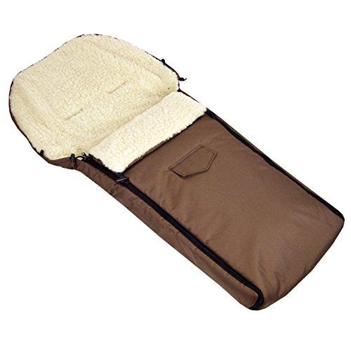 BAMBINIWELT wintervoetenzak voor kinderwagen, joggers, buggy en slee, voetenzak zitkussen, lamswol, bruin 108 cm