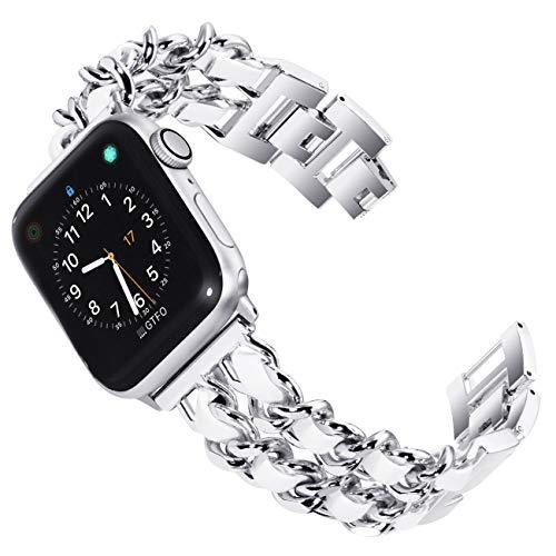 KADES Kompatibel mit Apple Watch SE Serie 6 Serie 5 Serie 4 40 mm, Damen-Armband Edelstahl kompatibel mit iWatch Serie 1, 2, 3 38 mm, Silber mit weißem Leder