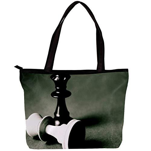 Vockgeng Handtaschen Damen Schachfigur Shopper Tasche Tragetasche Damen Schultertasche Groß Designer Elegant Ümhängetasche Henkeltasche 30x10.5x39cm