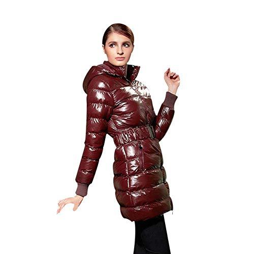Lange Vrouwen Kleding Riem Winter Warme Jassen Glanzende Effen Zwart Vrouwelijke Hooded Katoenen Jassen Lange Jassen