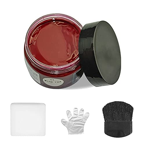 Krem regenerujący do skóry, pielęgnacja koloru skóry naprawa balsam regenerator wypełniacz z jednorazowymi rękawicami gąbka do wyblakłej porysowanej skóry sofy torebka fotele samochodowe buty kurtka buty (winna Rada)