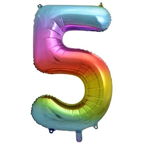 Folie ballon cijfer 5 is 86 cm groot regenboog kleuren
