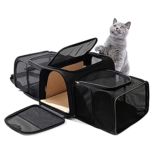 IGEANEI Bolsa para Mascotas Mochila portadora de Gato expandible Transpirable Cachorro Mascota Viajes Mochila Exterior transportador Bolso Gatos Bolso Suministros para Mascotas (Color : Black)