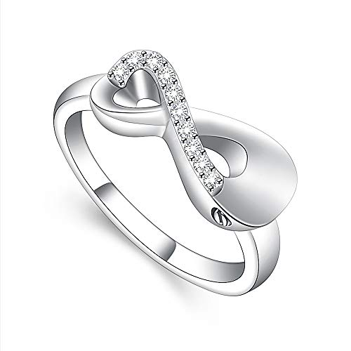 Cremation Jewelry Infinity Love Cremation Ring for Ashes Stainless Steel Hold Loved Ones Ash Keepsake Finger Ring Urn Locket Memorial Jewelry for Women Girl