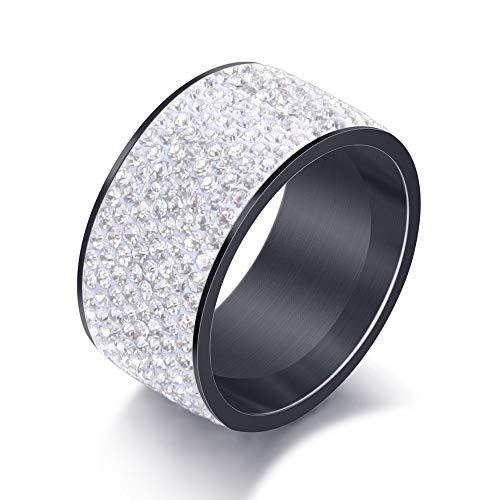 BVGA Anillo de acero de titanio con diamantes de acero inoxidable n.º 11 negro + blanco diamante anillo para mujeres niñas hermanas amigas significativo regalo de joyería